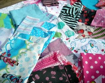 SCRAP fabric LOT! Skull, zebra, leopard, stripes, cotton, knit