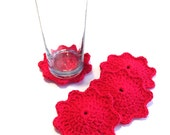 Set Of Four Red Crocheted Coasters