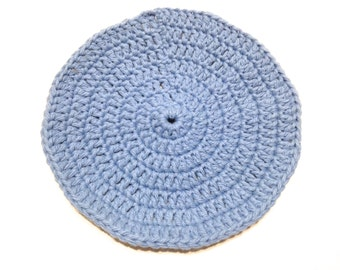 Light Blue Crocheted Round Dish Cloth