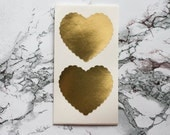 12 Extra Large Metallic Gold Scalloped Heart Stickers, Wedding Favor, Envelope Seal, Gold Stickers, Heart Seals, Valentine's Day