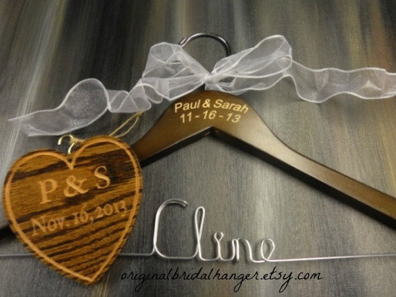 Wedding dress hangers wire name hangers engraved names and for Wedding dress hangers with name