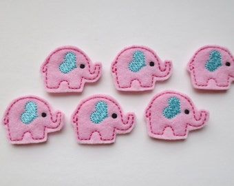 Light Pink Embroidered Elephants Embellishments - 028