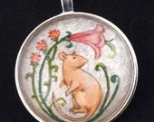 Decorative Hairless Rat with Flowers Pendant or Key Ring Unique Wearable Art for the Rat Lover