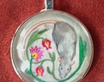 Decorative Gray Rat on Silver Pendant/Key Ring OOAK Wearable Art for the Rat Lover