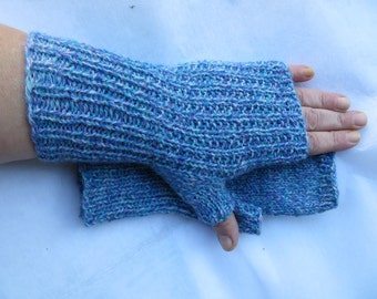 Aqua, Turquoise and purple, texting, typing gloves,  20 Wool,  small
