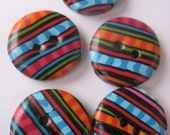 5 Handmade polymer clay buttons unisex super colorful funky design with stripes  teal pink orange green purple