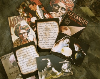Gypsy Fortune Teller Cards, Crystal Ball Series, Party favor, Vintage Gypsy - SET OF 12