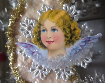 Vintage Style Pressed Spun Cotton Victorian Christmas Crescent Moon Ornament w/Antique Angel Diecut, Dresdens Old World Style