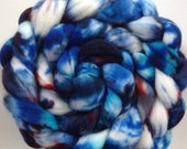 Hand Dyed super wash merino wool roving for spinning or felting 3.9