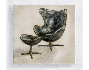 Chair Art - Egg Chair Portrait on 5x5 Canvas Print  Art Block - Arne Jacobsen - Designer Furniture Print - Retro Art - Wall Art - Home Decor