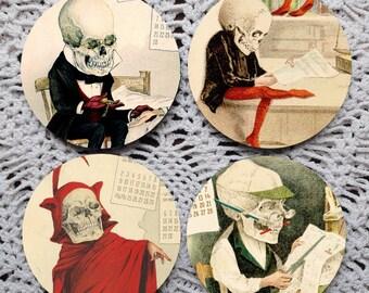 Funny Bones -- Vintage Calendar Skeleton Mousepad Coaster Set