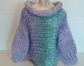 Cowl neck pullover sweater super chunky knit three quarter sleeves fits most small medium women in shades of lilac and mint