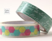 Washi and Fabric Tape - Prima Hello Pastel - 2 rolls - words and images - gift wrap scrapbooking