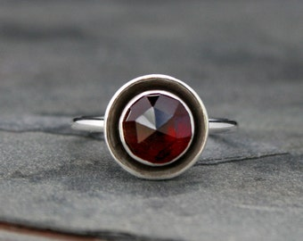 Rose Cut Garnet Halo Ring, Sterling Silver, Deep Scarlet Red Jewel, Statement Ring, Faceted Gem, Marsala, January Birthstone Birthday