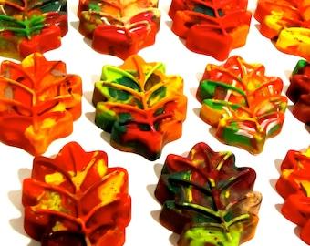 Kid's LEAF Crayons - Jumbo Leaf Crayons - Recycled Rainbow Crayons