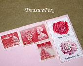 PINK Bouquet .. Unused Vintage US Postage Stamps .. Enough to mail 10 letters