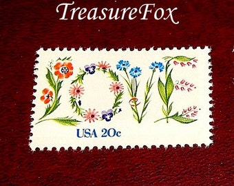 20c Floral LOVE Stamp ..  Set of 50 .. Unused Vintage Postage Stamps  Love in flowers, Wedding postage, RSVPs, save the dates and thank yous