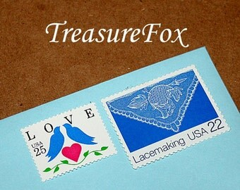 LOVELY LACE .. Blue .. Unused Vintage US Postage Stamps enough for you to mail 5 letters. Blue birds and Love stamp, Save the date postage