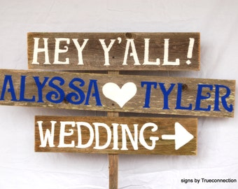 Navy Blue Wedding Signs Name Rustic Romantic Outdoor Weddings Hand Painted Sign Wedding Decorations Weddings Road Signs Barnwood Decorations