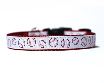 5/8 or 3/4 Inch Wide Dog Collar with Adjustable Buckle or Martingale in Little Slugger