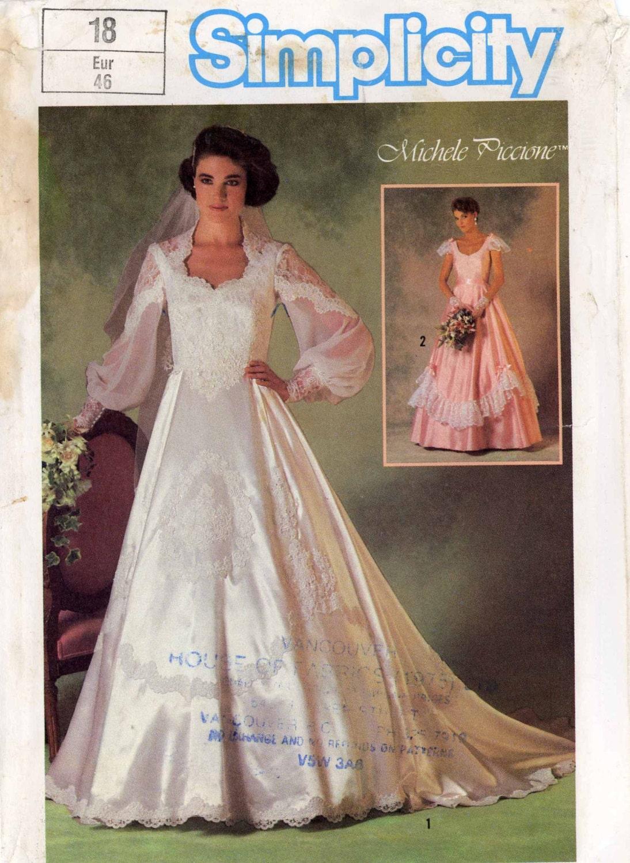 80er Jahre romantische Hochzeit Kleid nähen Muster Vintage ...