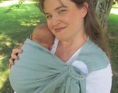 Baby Sling Ring Sling - decorative stitching - Baby Carrier - 100% LINEN in Seamist - DVD included - toddler sling, summer, baby shower gift