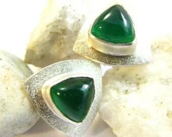 Emerald Green Onyx Earrings, Stud Earrings, Green Chalcedony Earrings, Sterling Silver Earrings, Post Earrings, Silversmith Artisan Jewelry