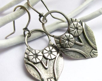 Small Silver Owl Earrings, Argentium Sterling Silver Earrings, Silversmith Jewelry, Owl Jewelry, Nature Jewelry, Metalsmith Earrings