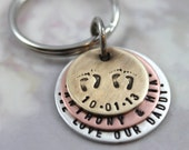 Personalized Keychain for New Dad of Twins, Father Gift, Engraved Keyring, Mens Personalized, Custom Hand Stamped Keychain