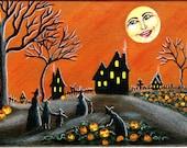"Art  Print Halloween  Titled "" Ripening Jack O Lanterns"""