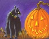 """Halloween Art Print Titled  """"Familiar Friends"""""""