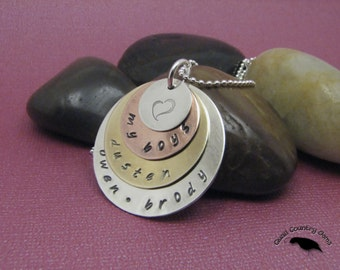 Personalized Hand Stamped Mom Pendant Necklace, Sterling Silver, Copper, Brass