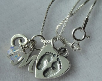 New Mommy, New Baby, Personalized Necklace, Footprints, Initial Letter Necklace,  Birthstone Necklace, Baby Feet