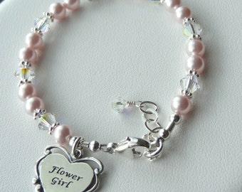 Flower Gril Bracelet - Sterling Silver Heart initial with Swarovski Crystal Pearls  and Flower Girl Charm Children Bracelet