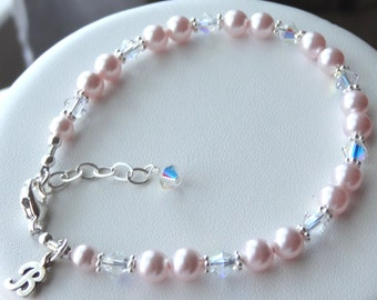 Sterling Silver Monogram initial with Swarovski Crystal Pearls  Bracelet, Flower Girl Bracelet, Junior Bridesmaid Bracelet