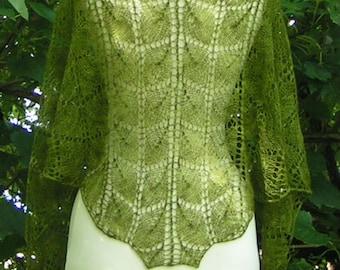 Lace Shawlette Designer Handknit Cashmere MOTHER NATURE Lightweight Warm and Luxurious