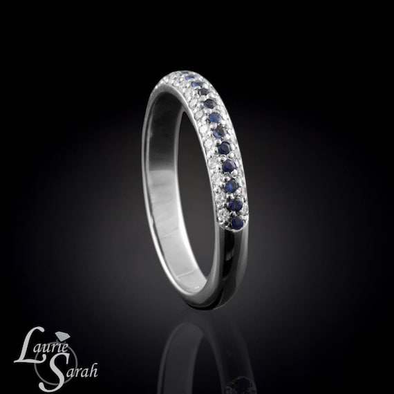 Blue Sapphire and Diamond Micro Pave Half Eternity Band - LS1004