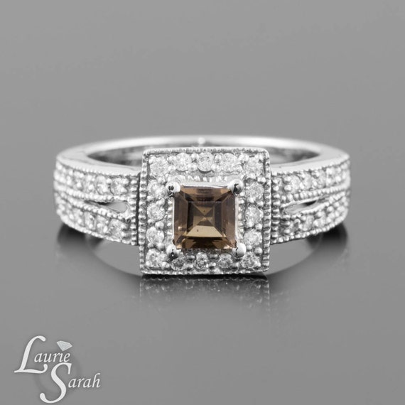 Princess Cut Smoky Quartz Engagement Ring with Milgrain Detail, Diamond Halo and Split Shank - LS833