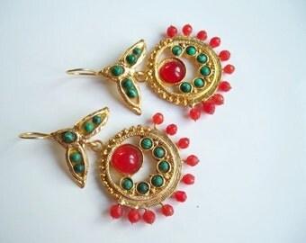 Orange Agate and Green jade earrings