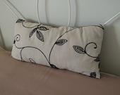 Pillow, Velvet Vines, Black,  Linen, Hemp, Oatmeal, 12 x 24
