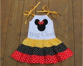 Custom Minnie Mouse Red Yellow and Black  White Polka Dot  Tiered Dress