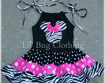 Custom Boutique Clothing Tiered Minnie Mouse Hot Pink Zebra and Black Polka Dots Dress