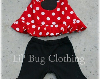 Custom Boutique Red Minnie Halter and Black Knit Short