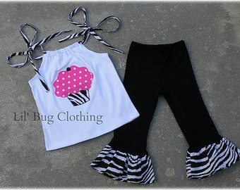 Zebra And Hot Pink Dots Girls Birthday Cupcake Summer Top And Pant Outfit