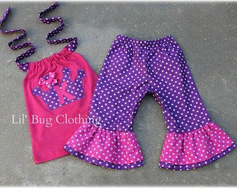 Custom Boutique Princess Crown Purple And Pink Polka Dot Capri and Halter Top Birthday Girl