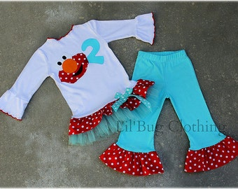 Custom Boutique Clothing Teal Red Polka Dot Elmo Comfy Knit Tulle Tee And Knit Pant  Birthday Girl