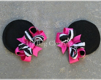 Zebra And Hot Pink Girls Minnie Mouse Ears Hair Clip Accessories