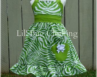 Custom Boutique Clothing Lime Zebra Stripes Animal Kingdom   Minnie Mouse Halter Dress