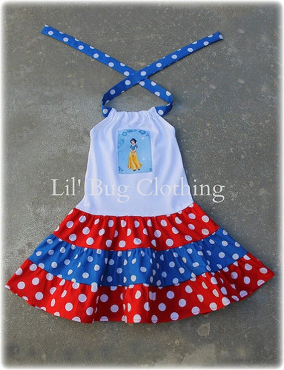 Custom Boutique Clothing Disney Snow White Tiered Dress Red White Blue