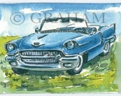 1956 Cadillac, classic car, Aceo Art Card, Original, Watercolor Painting, ACEO, This is an Original painting and Not a Print